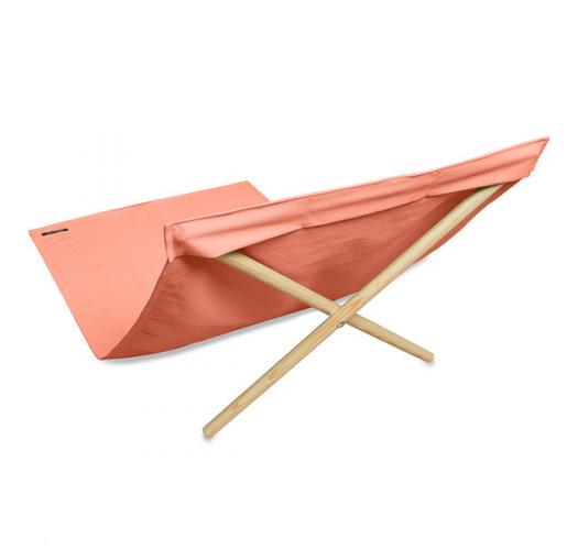Pomarańczowy leżak z płótna i sosny, 140x70 cm - NEO TRANSAT ABRICOT
