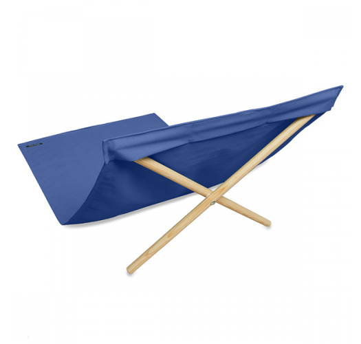 Blue deckchair from canvas and pine, 140x70cm - NEO TRANSAT BLEU ROI