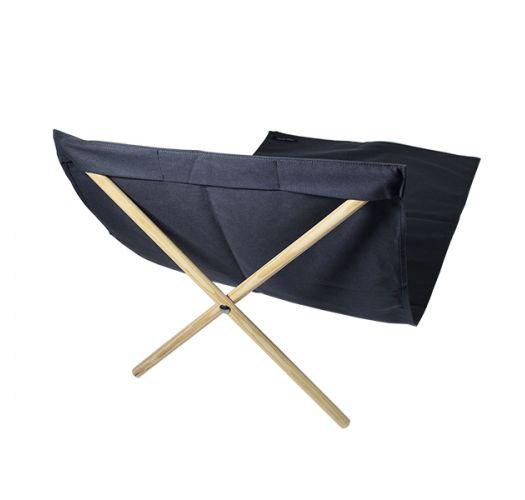 Dark grey canvas and pine deckchair, measuring 140x70cm - NEO TRANSAT CINZA