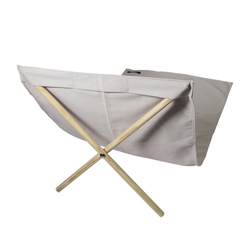 Beige canvas and pine deckchair, measuring 140x70cm - NEO TRANSAT CREAM