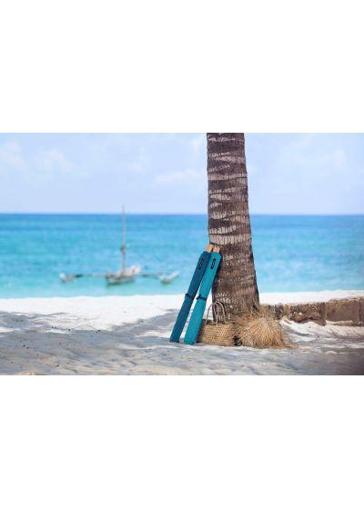 Sky blue deckchair - canvas and pine, 140x70cm - NEO TRANSAT EMERAUDE