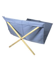 Blue canvas and pine deckchair, measuring 140x70cm - NEO TRANSAT JEAN