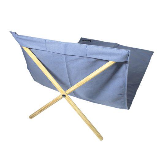 Blue canvas and pine deckchair, measuring 140x70cm - NEO TRANSAT JEAN
