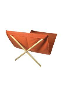 Оранжевый шезлонг из ткани и сосновых перекладин, размер 140х70 см - NEO TRANSAT LARANJA