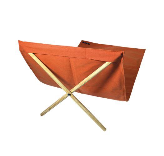 Orange canvas and pine deckchair, measuring 140x70cm - NEO TRANSAT LARANJA