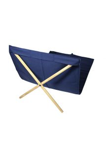 Κάθισμα παραλίας από ξύλο πεύκου και καραβόπανο σε ναυτικό μπλε, διαστάσεις 140x70εκ. - NEO TRANSAT MARINHO