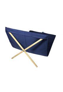 Donkerblauwe canvas/grenen ligstoel, 140x70cm - NEO TRANSAT MARINHO