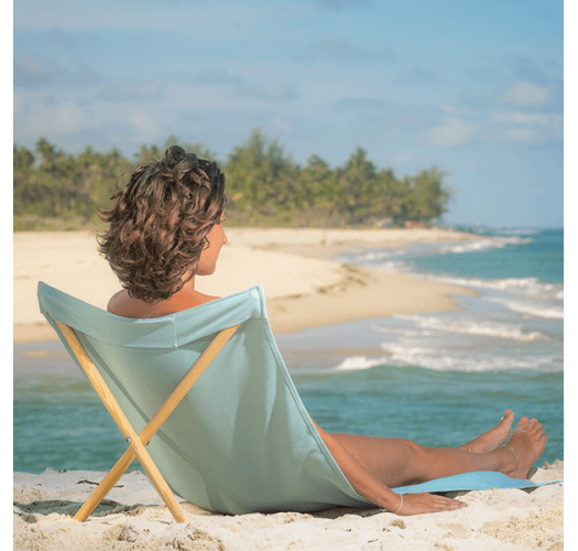 Turquoise deckchair from canvas and pine, 140x70cm - NEO TRANSAT TURQUOISE