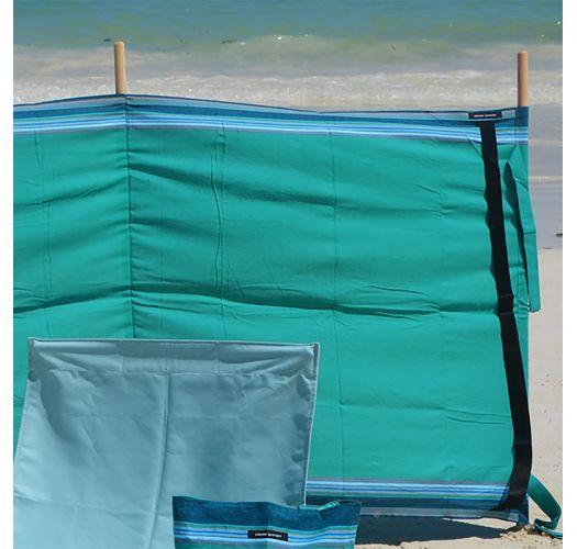 Paravent turquoise en toile et pin 270cmx95cm - PARAVENT IPANEMA