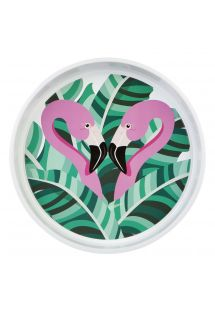 Bandeja redonda c/ flamingos rosa - DRINKS TRAY TROPICAL