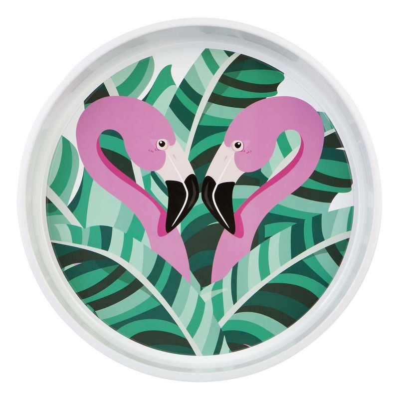 Round tray with raised edge and pink flamingo pattern - DRINKS TRAY TROPICAL
