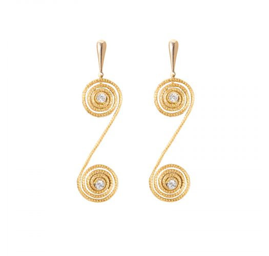 Spiral dangling earrings with strass - CARACOL