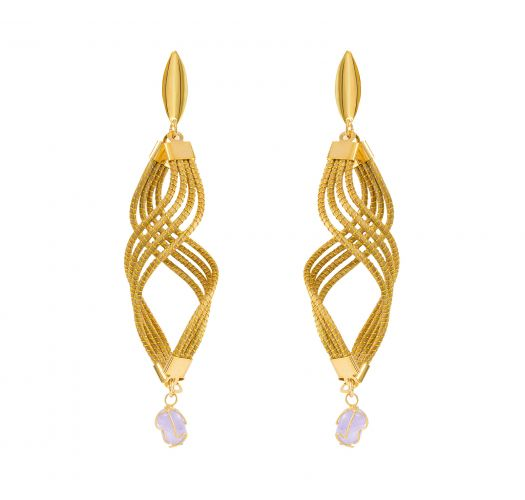 golden stone qqartz kista jewellers earrings rose product with