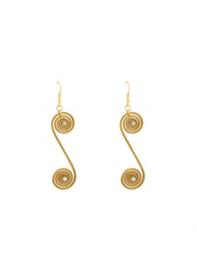 Vegetable gold earrings double spirals and rhinestones - JALAPAO STRASS