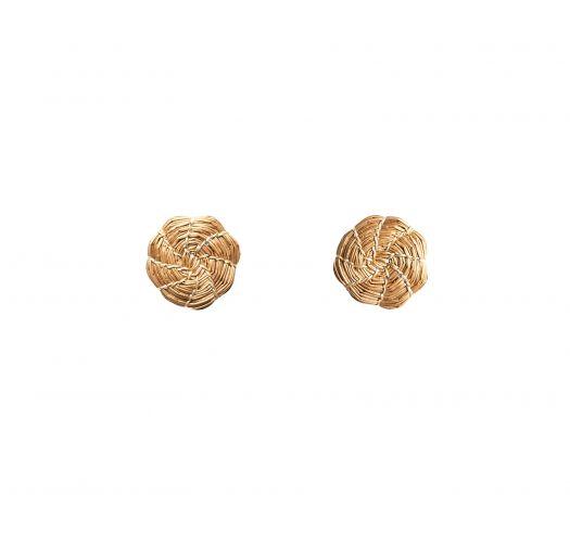 Handmade golden grass earrings - MINE MANDALINHA