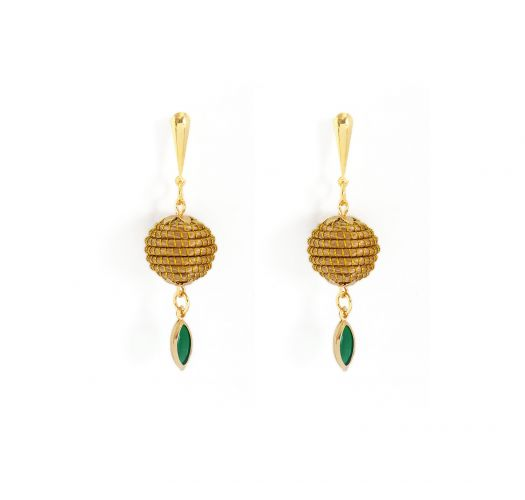 Dangling round  with vegetal gold and green stone - ORBE ESMERALDA
