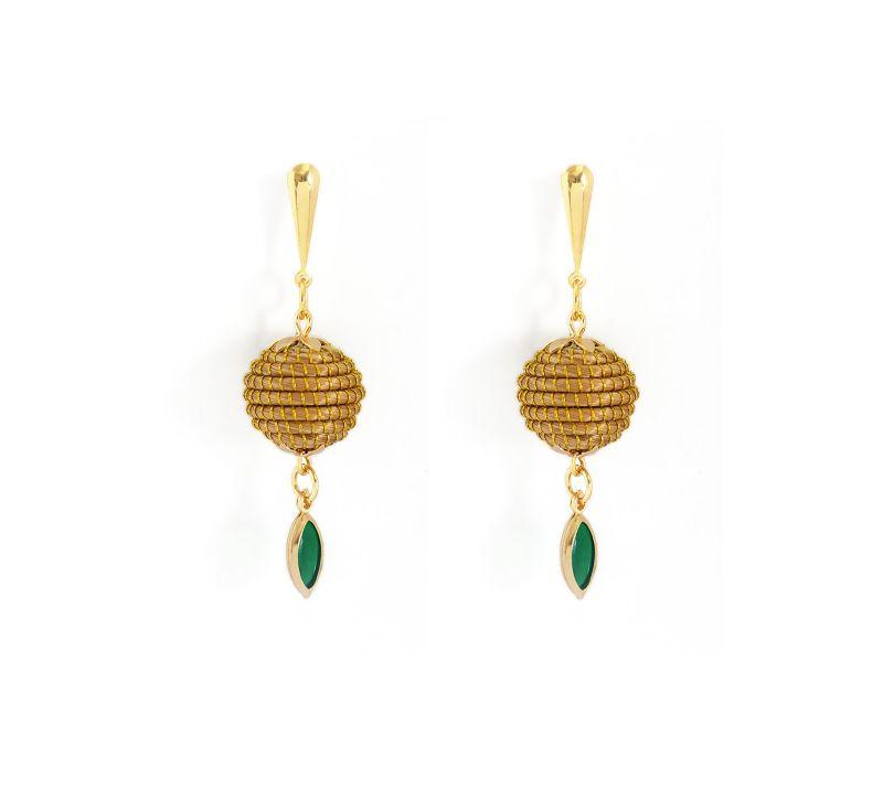 Armband med vegetabiliskt guld och grön sten - ORBE ESMERALDA