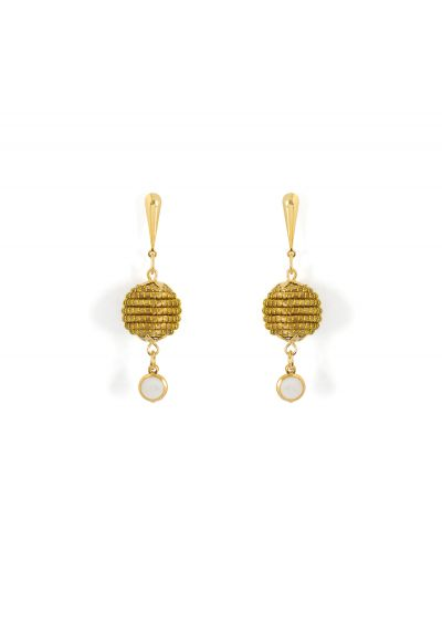 Dangling earrings with vegetal gold and stone bead - ORBE PEDRA