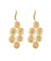 Spiral earrings with strass, 6 cm - TRISQUEL STRASS