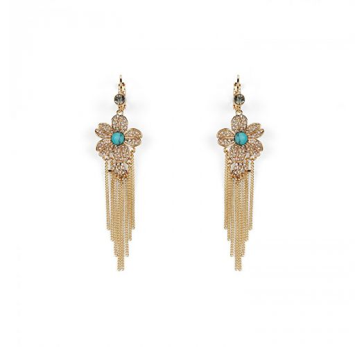 Golden earrings with rhinestone flowers and chains - AZALÉA GOLD HIPANEMA