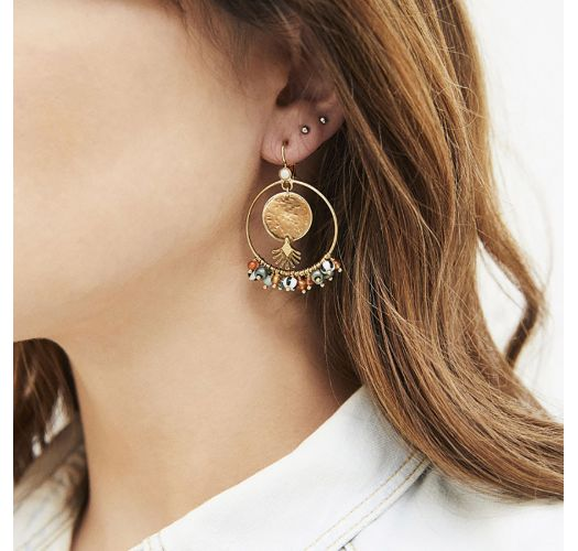 Gold plated earrings with hammered elements and colorful pearls - ECLIPSE MULTICOLORE HIPANEMA