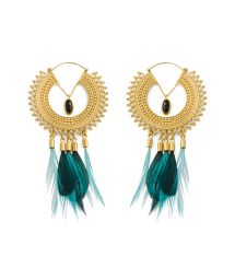Golden creole earrings with feathers - HIPANEMA ADORE GOLD
