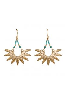 Ethnic style gold-colour/turquoise earrings - HIPANEMA BANJA TURQUOISE