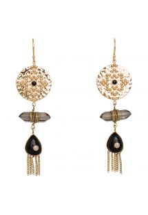 Ethnic-style gold-colour/black drop earrings - HIPANEMA BEANIE BLACK
