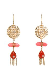 Ethnic style gold-coloured/coral drop earrings - HIPANEMA BEANIE CORAL