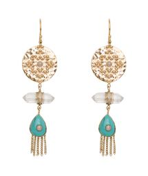 Ethnic-style gold-coloured/turquoise drop earrings - HIPANEMA BEANIE TURQUOISE