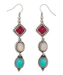 Silver earrings with 3 stones - HIPANEMA JOY SILVER