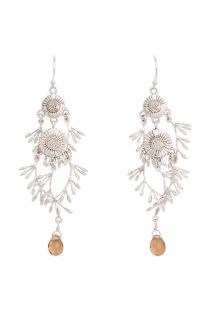 Floral silver colour drop earrings - HIPANEMA MALIA BEIGE