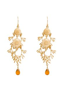 Floral soft orange colour crystal drop earrings - HIPANEMA MALIA CUMIN