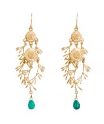 Floral gold-coloured and green crystal drop earrings - HIPANEMA MALIA TURQUOISE