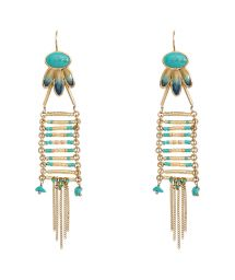 Gold colour/blue bead drop earrings - HIPANEMA MEENA