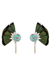 Cabochon and khaki feather earrings - HIPANEMA MELINE KHAKI