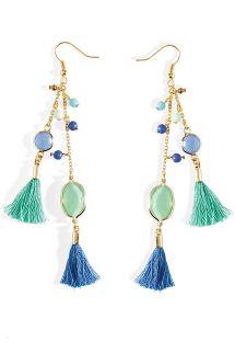 Pendientes colgantes azules con borlas - HIPANEMA PAMPILLE BLUE