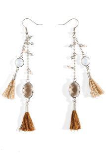 Lange Ohrringe mit Kristallen und Quasten - HIPANEMA PAMPILLE WHITE
