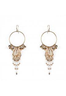 Örhängen med guldpläterade pärlor, skal och tofsar - KARIBE WHITE HIPANEMA