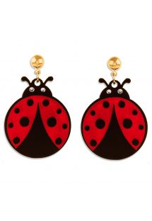 Ladybird and gold-plate earrings - BRINCO JOANINHA MINI
