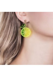 Lemon and gold-plate earrings - BRINCO LIMAO MINI