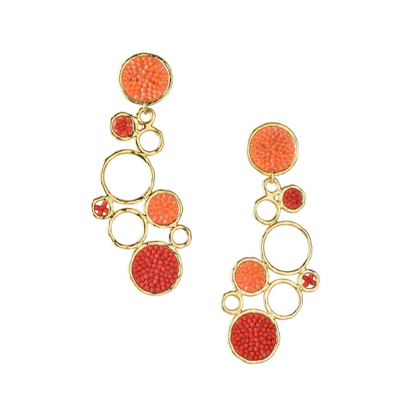Stylish gold earrings with orange pearls - BUBBLE EARRING-GP-L-7817