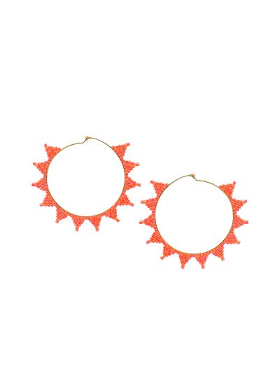 Orange round earring with star shape - SHOOTING STAR EARRING-GP-M-7630
