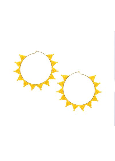 Yellow round earring with star shape - SHOOTING STAR EARRING-GP-M-7635