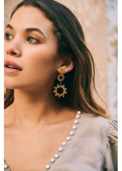 Långa guldfärgade örhängen med stjärnor- SUPER NOVA EARRING-GP-L-7729