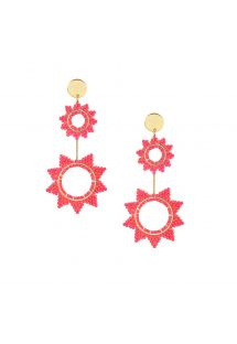 Dark pink dangling earring with star shape - SUPER NOVA EARRING-GP-L-7742