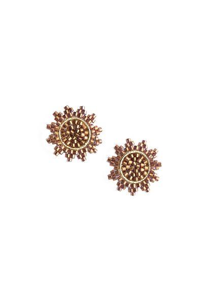 Små stjärnformade örhängen med guldfärgade pärlor - SUPER NOVA EARRING-GP-S-7729