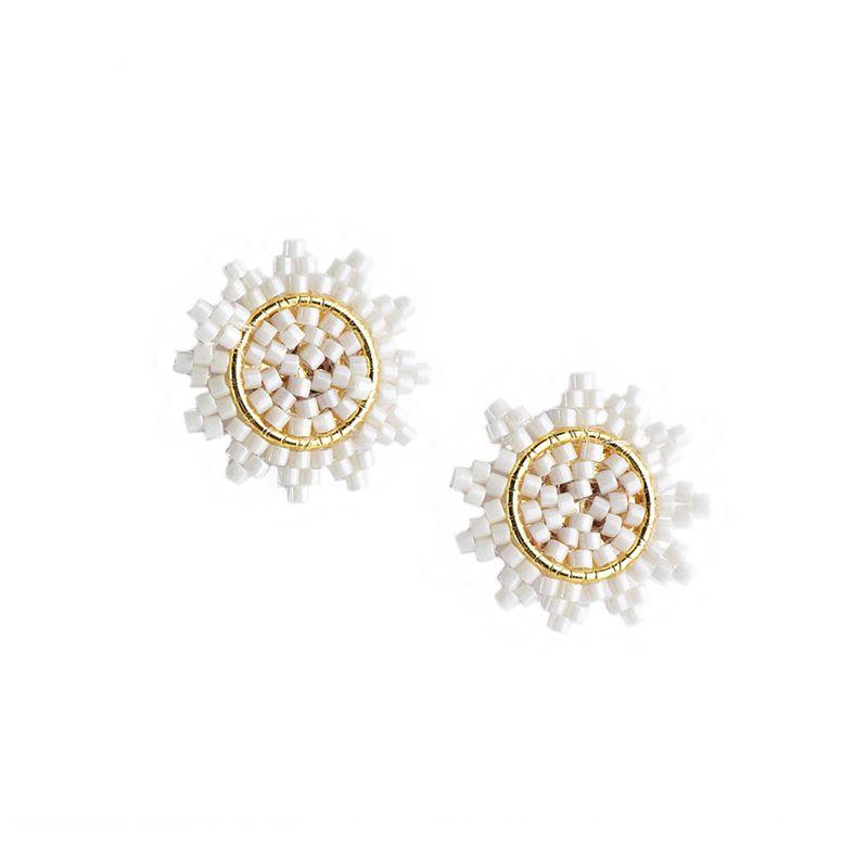 Små stjärnformade örhängen med vita pärlor - SUPER NOVA EARRING-GP-S-7750