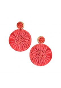 Round red pom poms earrings - BLOOMING SUN EARRING-BE-M-7687