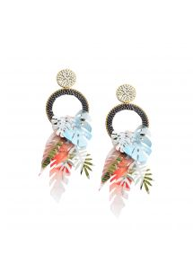 Colorful earrings with pearls and leaves - AMAZONAS EARRING-GP-M-6944